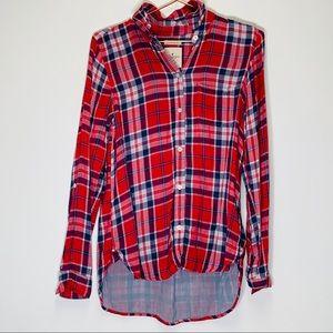 American Eagle Plaid Button Down shirt Tab Sleeve